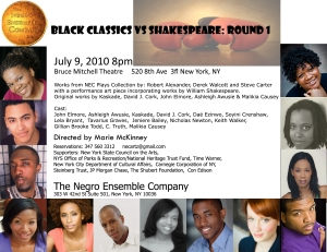 Black Classics vs Shakespeare: Round 1 July 9th 8pm 520 8th Av 3fl